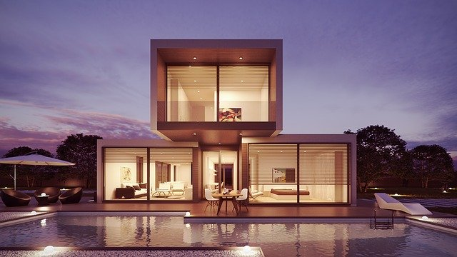 A modern house with a pool.